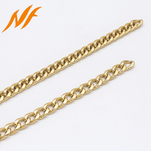 gold colored chain link metal handbag chain strap