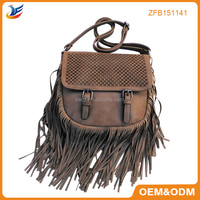 Leather tassels for handbag pu fancy bags ladies fringe tote mini bag