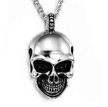 Mens Gothic Skull Stainless Steel Pendant Silver Black Statement Necklace