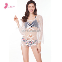 OEM Women Sexy Crochet Lace Top Summer Beach Cover Up Wear Long Sleeves Lady Top