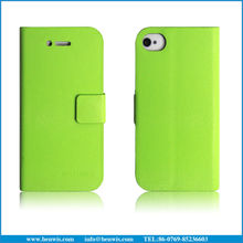 micro fiber interior pu leather case for iphone 4 flip leather case