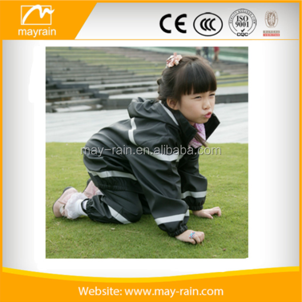 Children's 2-Piece PU polyester Waterproof Rain Suit