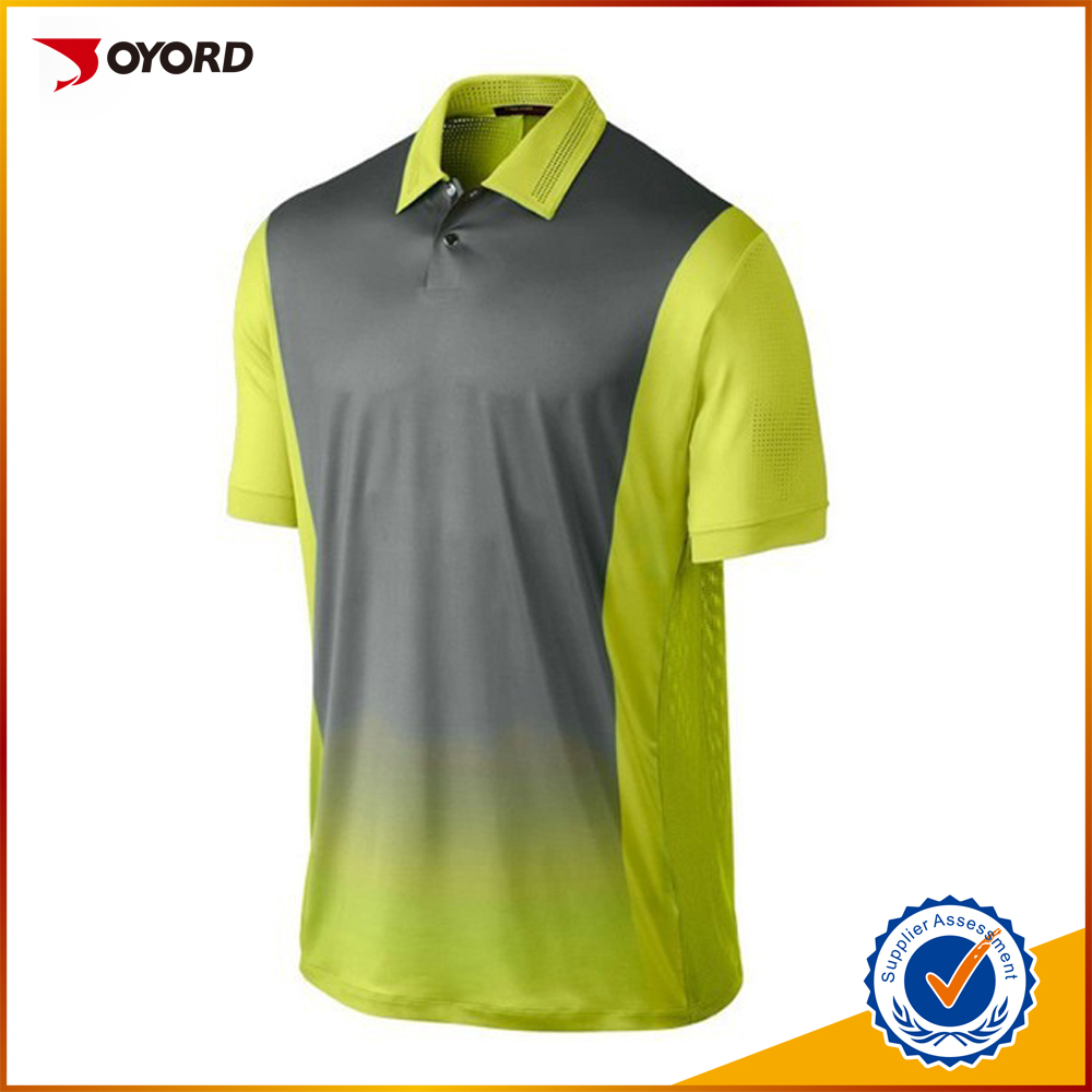 Custom dry fit golf shirt sublimation printing mens yellow for Custom dry fit shirts