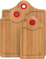 3 Piece Bamboo Cutting Board Set Wood Cutting Boards for Kitchen with Silicone Storage Handle