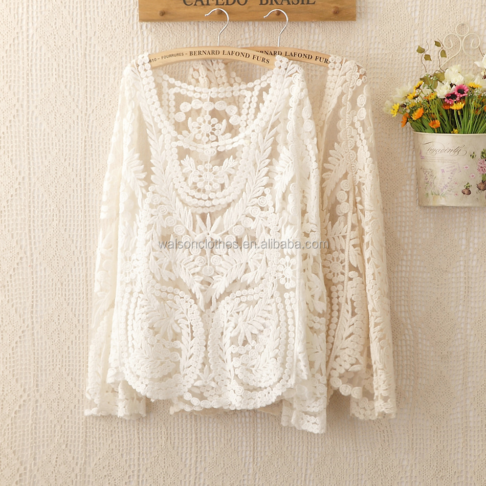 clothing s-6xl 2014 Fashion new women clothes tops loose perspective sexy Engraving flower long sleeve lace blouse