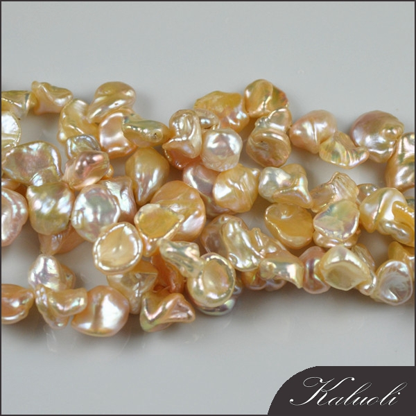In bulk sale good quality nature peach freshwater loose keshi pearls