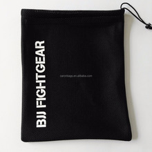 factory custom promotion sandwich small black nylon drawstring mesh bag