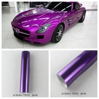 Rich and elegant fshionable pvc glitter purple car color changed wrapping film aurora vinyl for car sticker