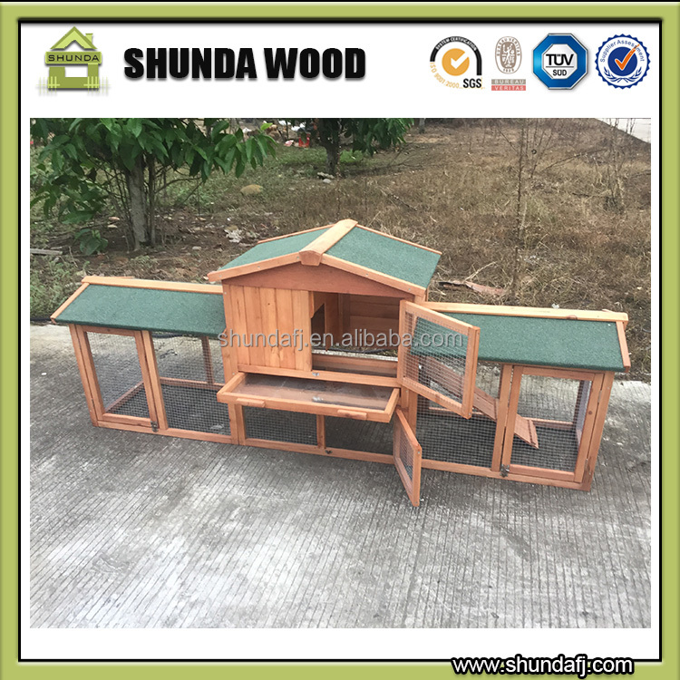 SDR003-D Large Run handmade wood rabbit hutch