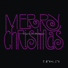 Custom Made Letters Hot Fix Motifs Design With Merry Christmas Rhinestone Transfer