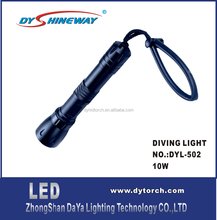 super bright,backup diving light,XML LED,10W,1000LM,2*18650 LIION RECHARGEABLE BATTERY,100METERS WATERPROOFDY-D02
