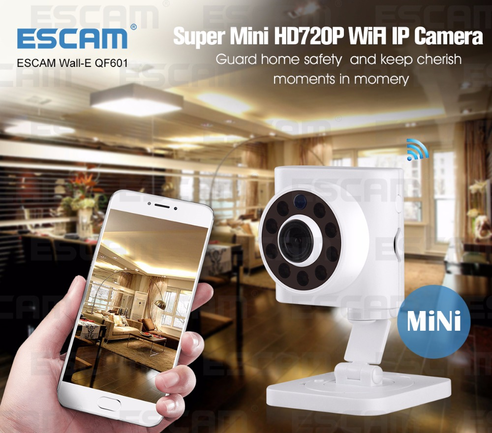 ESCAM QF601 Wall-E p2p wireless ip camera 720p hd mini wifi home security camera