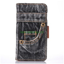 Retro Jeans Denim Pocket Cloth Trousers Wallet Flip Leather Case For iPhone 7