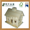Handmade totally pine cheap unfinished eco wooden bird house toy for kids