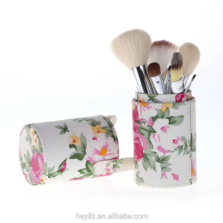 Hot Sell 12PCS Goats Hair Makeup Brush Set With Rose Cylindrical Holder