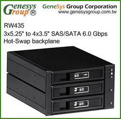 "RW435, 3x5.25"" to 4x3.5"" SAS/SATA 6.0 Gbps Hot-Swap backplane"