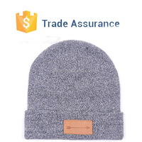 New Men Women Solid Color Warm Plain Knit Ski Beanie Hat With Custom Leather Label Plain Beanie With Custom Leather Tags