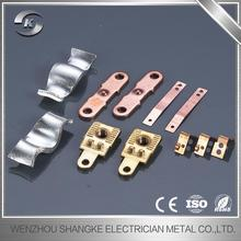 Professional electrical silver contact bridges brass machined copper stamping metal spare parts