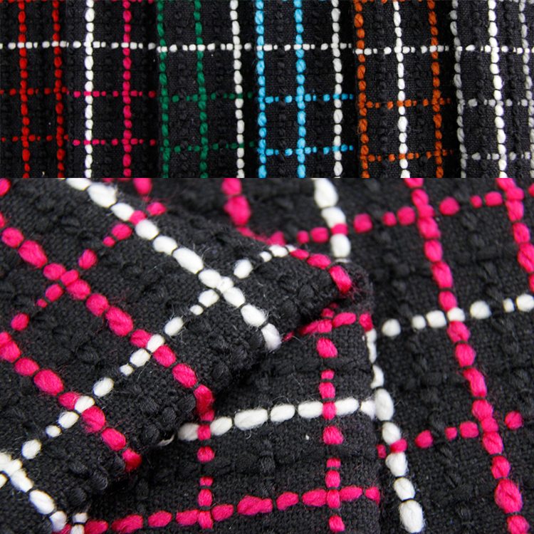 woven tweed fancy fabric for women clothes and Yarn dyed dress