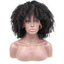 Medium Short Black Color Afro Kinky Curly Synthetic Hair Lace Front Wigs for African Women