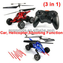 infrared rc airsoft helicopter,rc car,shooting function(3 in 1) rc helicopter 6ch & rc car can missile launch