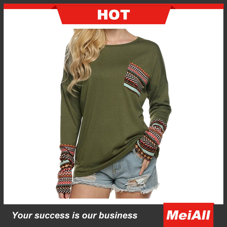 new fashion wholesale plain printed long sleeve t- shirt for women