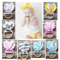 Eco Organic Bunny Ear Teether Crochet Baby Toy Maple Wood Teething Ring