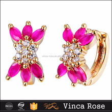 Red Lotus style 3D earring factory china whole sale price semi jewels set zirconia