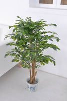 2016 fake decoration bonsai banyan tree plant 120CM real trunk artificial leaves on sale