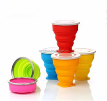 Portable and Eco friendly silicone collapsible <strong>cup</strong> with lids