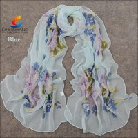 Lingshang new style spring and autumn fashion shawl women flower leaves pattern scarves chiffon silk scarf pashmina wholesale
