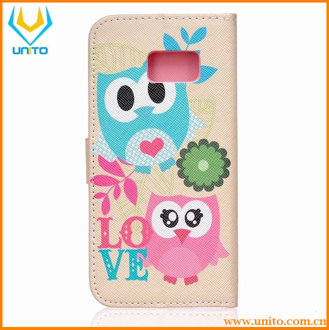 Printed Cute Stand Card Slot Lovely Case Wallet Flip PU Leather Cover For Samsung Galaxy S7 S7 edge S7 Plus