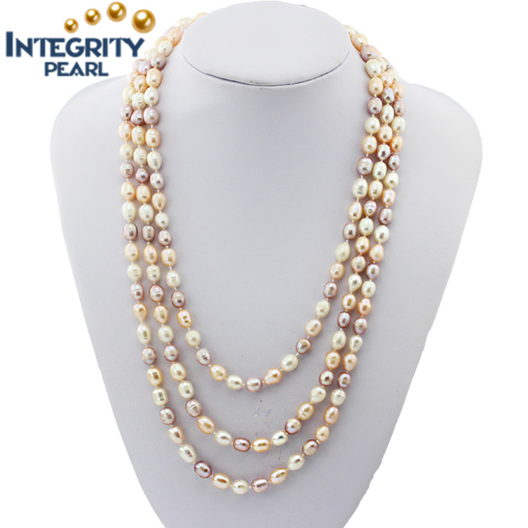 7-8mm 60 inch wholesale long cultured natural freshwater real pearl necklace price