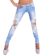 30026 New Fashion 2016 Light Blue Womens Denim Crochet Lace Skinny Legs Stretch Pencil Jeans
