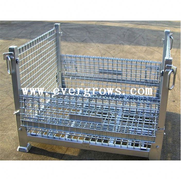 Folding Storage Mesh Cage Portable Steel Stacking Cage