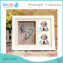 Baby first month hand foot print 3D casting wooden frame