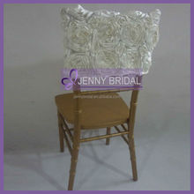 C042E cheap rosette half back cream ruffled wedding chair cover