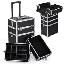 Aluminum frame black cosmetic upright make up trolley case with hard ABS