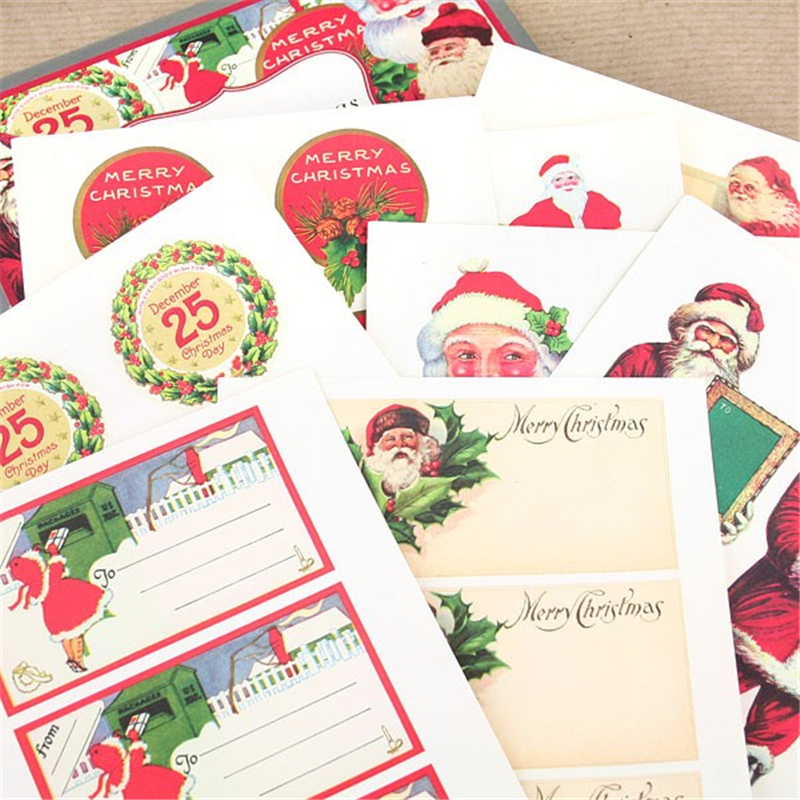A4 Sheet Kraft Paper Label Kiss Cut Vintage Christmas Sticker Custom Sticker Label Printing