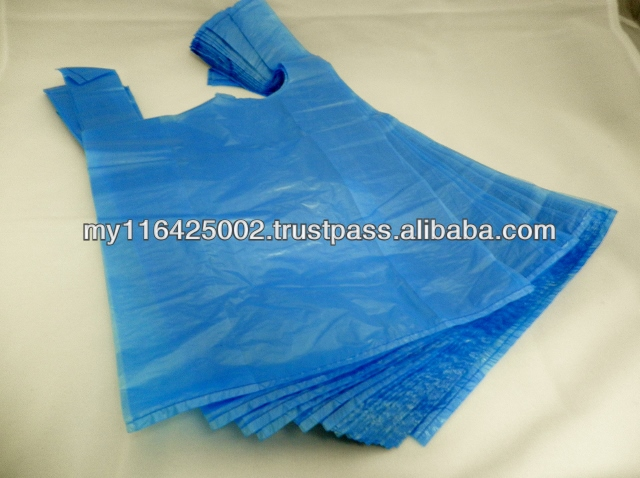 Blue Plastic T-shirt/ Vest Carrier Bags