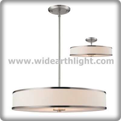 UL Listed Hotel Round Pendant Light With Big Fabric Shade For Indoor C50254