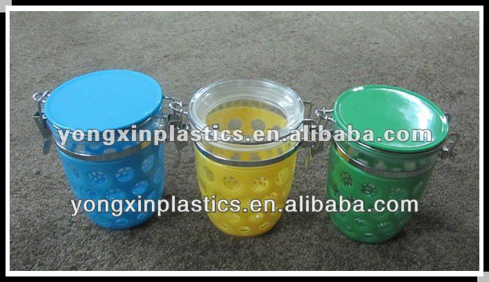 round plastic airtight spice jars with lids for family food storage