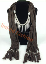 high quality pendant scarf necklace jewelry scarves with rivit punk style scarf