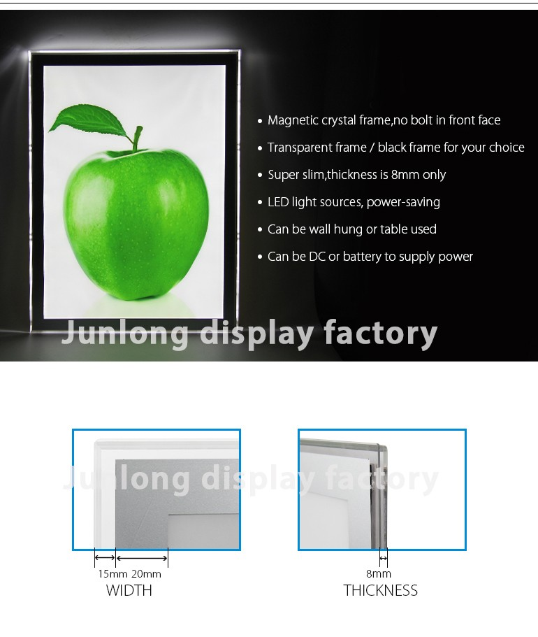 The 8mm magnetic acrylic slim led display advertising light box