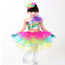 PGCC 5057 Children Dance Costume Spring Summer Girls Belly Dance Bubble Dress