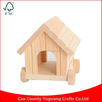 Small Pets Cute Four Wheels for Hamster/ Rabbit/ Squirrel Pet Toy Wooden House/Cage/Nest