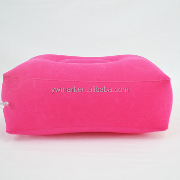 Fast delivery time flocking inflatable leg rest pillow knee pillow