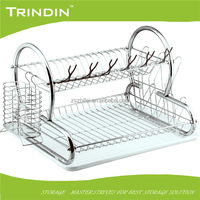 factory wholesale 2 tier metal wire large Dish Drainer with drip tray cutlery holder kitchen sink rack