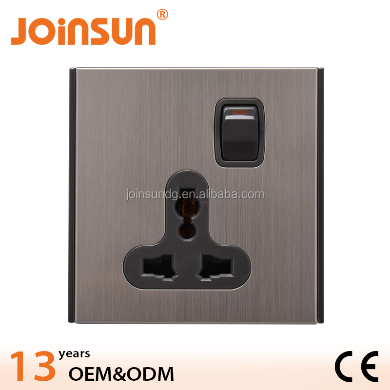 univeral Stainless steel black electric switch and socket