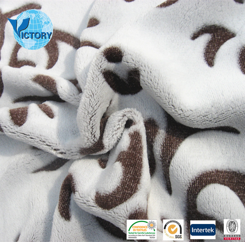 100% Polyester Flannel Cutting Motif Knitted Fabric for Blanket,Bathrobe,etc.
